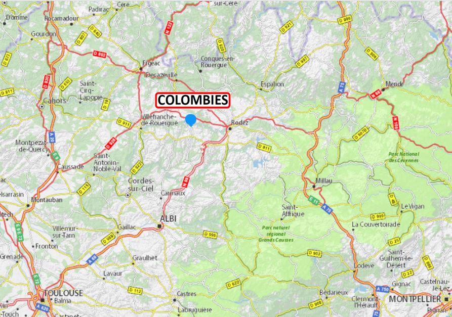 Localisation de Colombiès